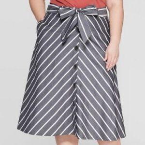 Ava Viv Plus Size Skirt Gray Stripe A-Line 4X New